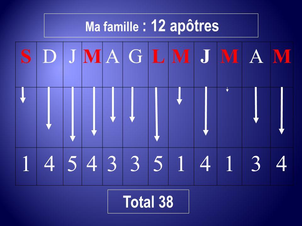 Ma famille : 12 apôtres S D J M A G L 1 4 5 3 Total 38