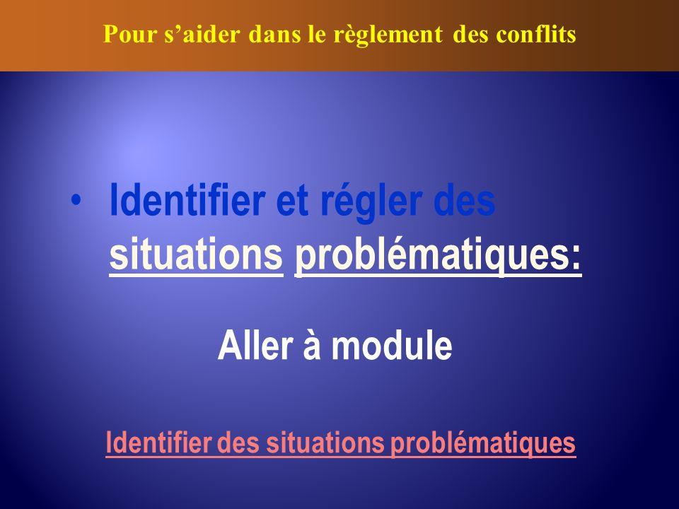 Identifier et régler des situations problématiques: