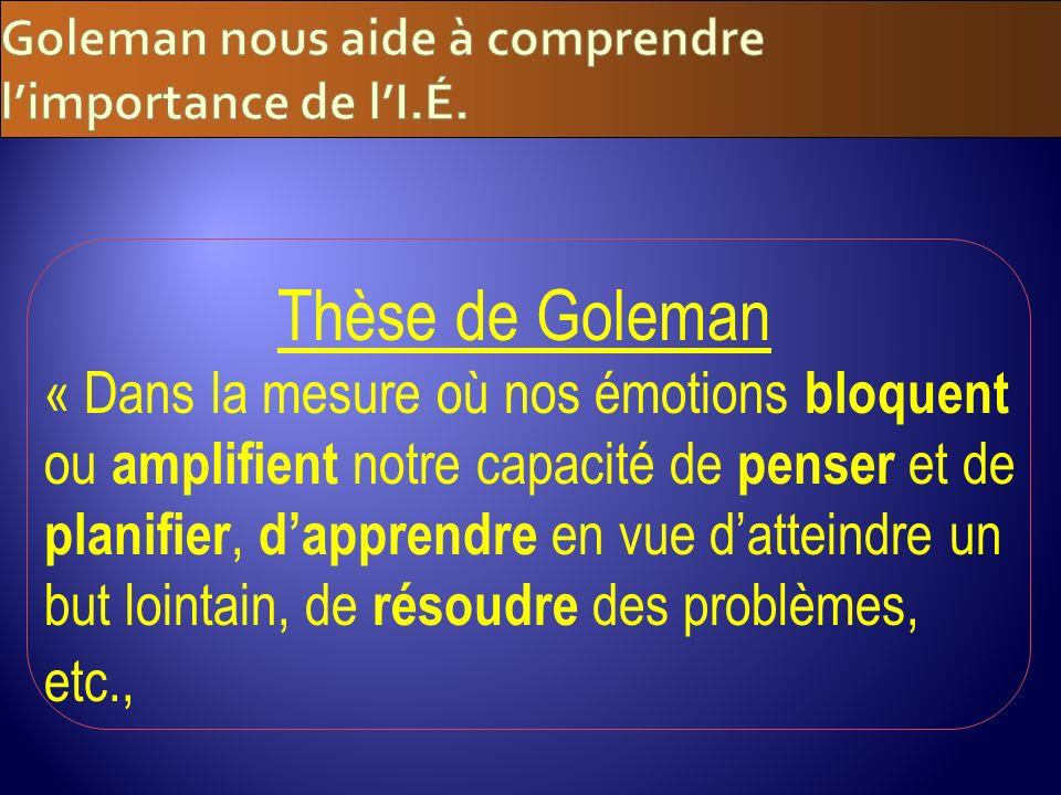 Goleman nous aide à comprendre l'importance de l'I.É.