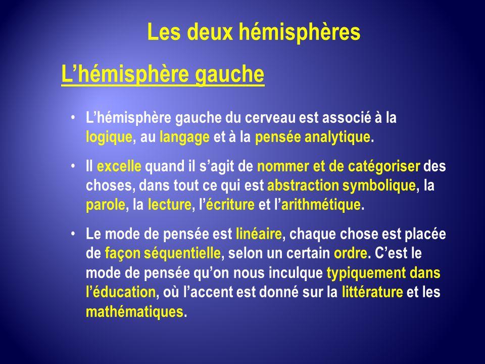 Les deux hémisphères L'hémisphère gauche