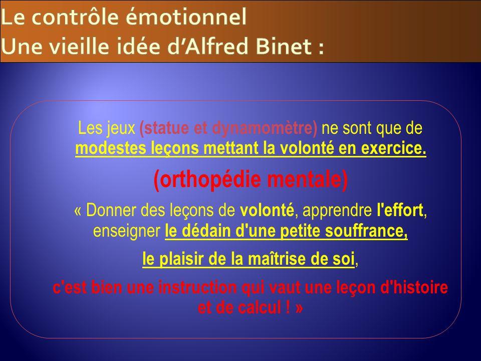 Le contrôle émotionnel Une vieille idée d'Alfred Binet :