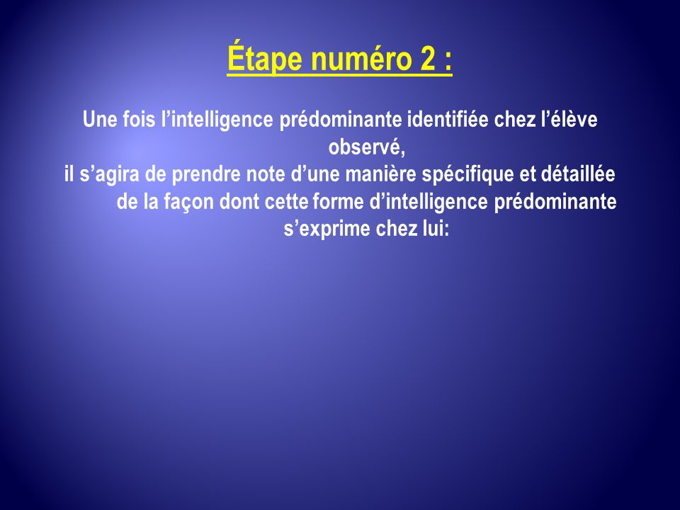 Une fois l'intelligence prédominante identifiée chez l'élève observé,
