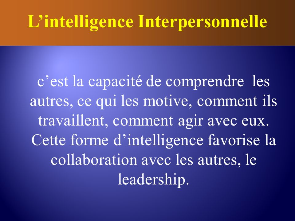 L'intelligence Interpersonnelle