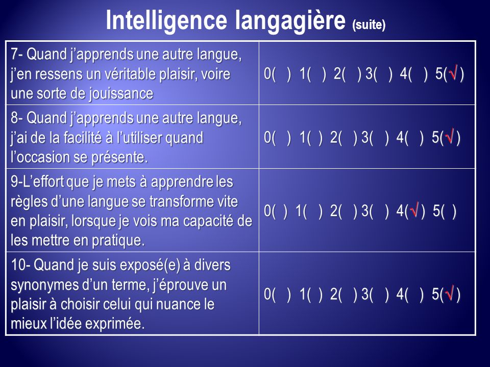 Intelligence langagière (suite)