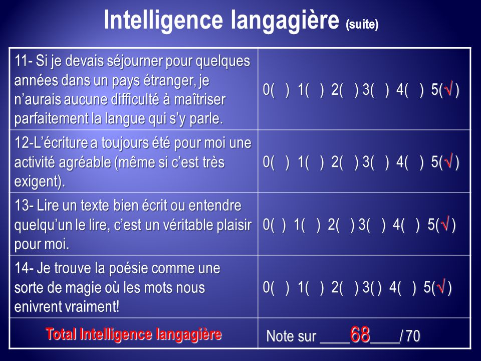 Intelligence langagière (suite) Total Intelligence langagière
