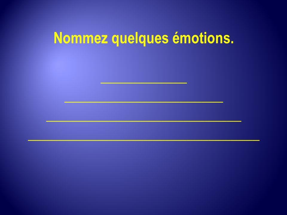 Nommez quelques émotions. ____________ ______________________