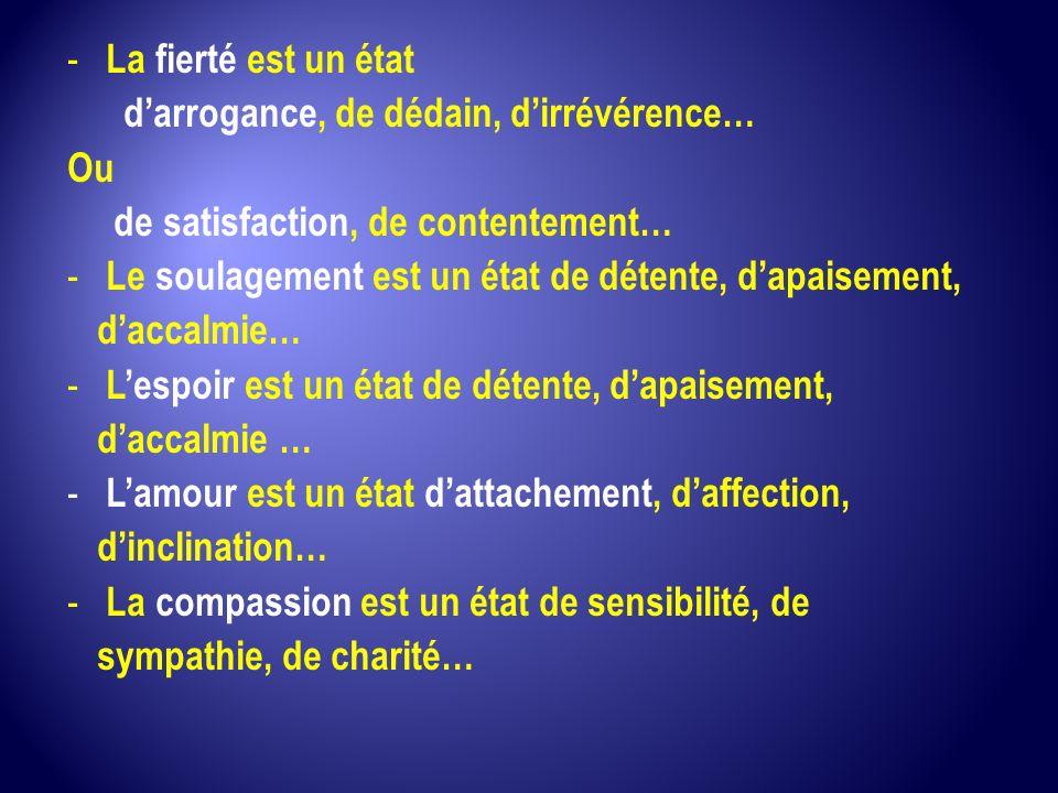 La fierté est un état d'arrogance, de dédain, d'irrévérence… Ou. de satisfaction, de contentement…