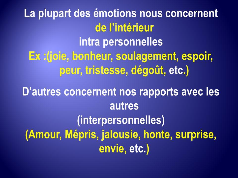 La plupart des émotions nous concernent de l'intérieur