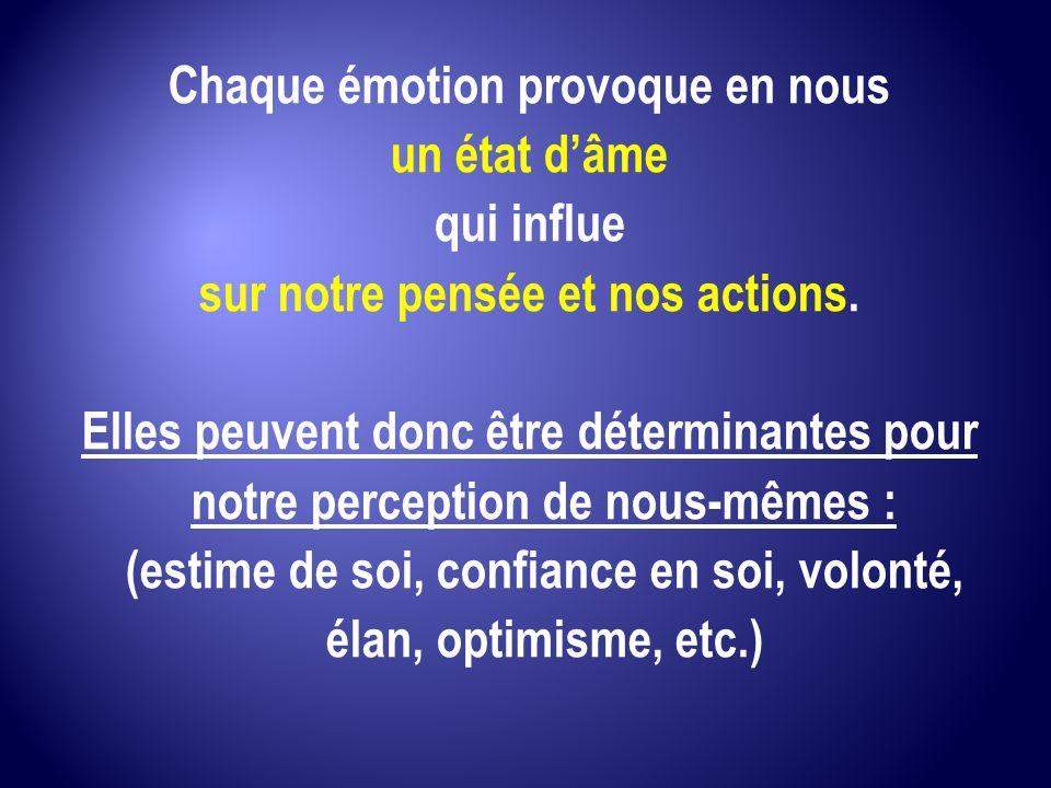Chaque émotion provoque en nous sur notre pensée et nos actions.