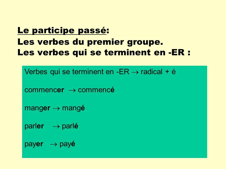 Le participe passé: Les verbes du premier groupe