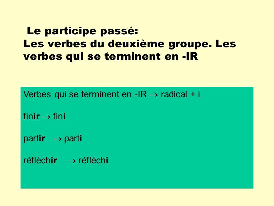 Le participe passé: Les verbes du deuxième groupe