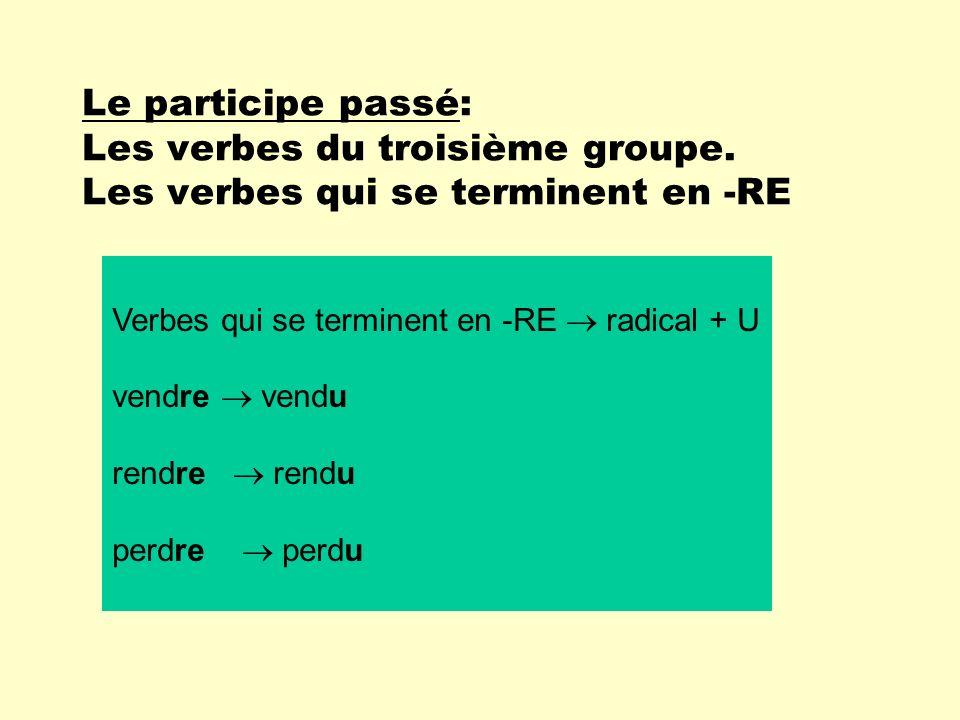 Le participe passé: Les verbes du troisième groupe