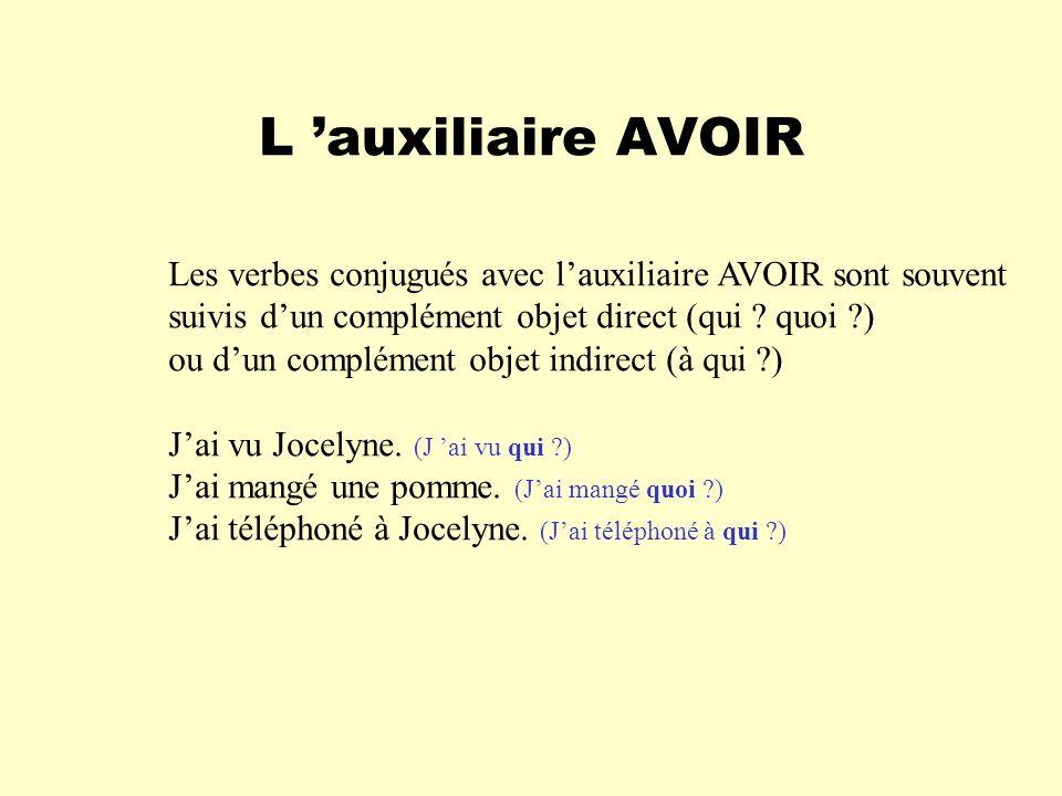 L 'auxiliaire AVOIR Les verbes conjugués avec l'auxiliaire AVOIR sont souvent. suivis d'un complément objet direct (qui quoi )