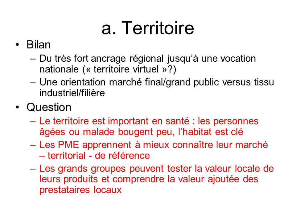 a. Territoire Bilan Question