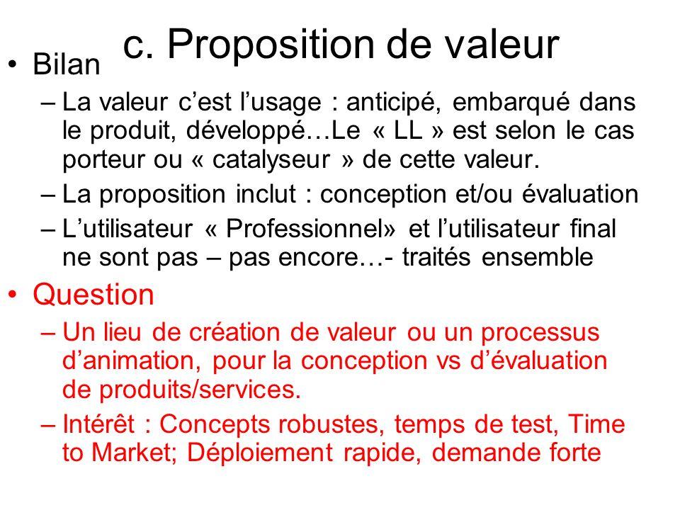 c. Proposition de valeur