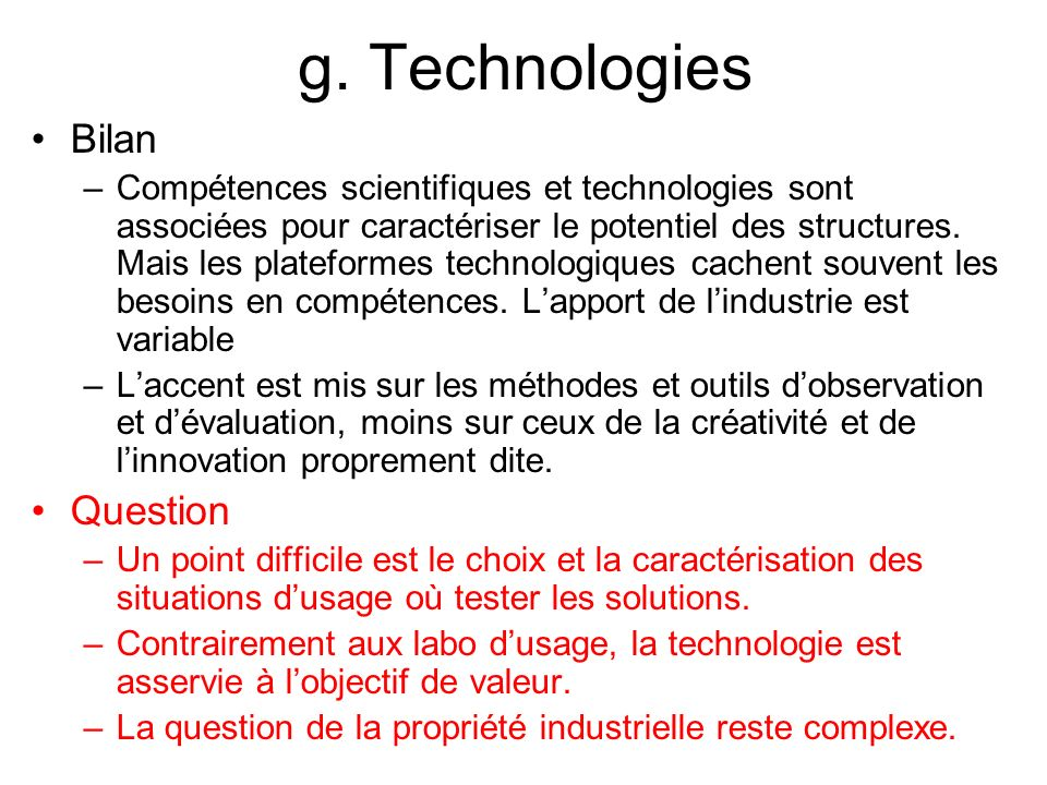 g. Technologies Bilan Question