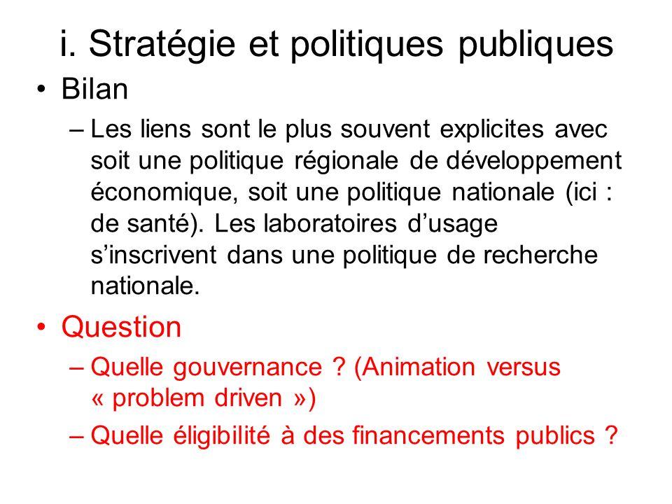 i. Stratégie et politiques publiques