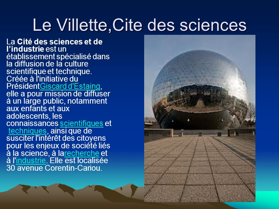 Le Villette,Cite des sciences