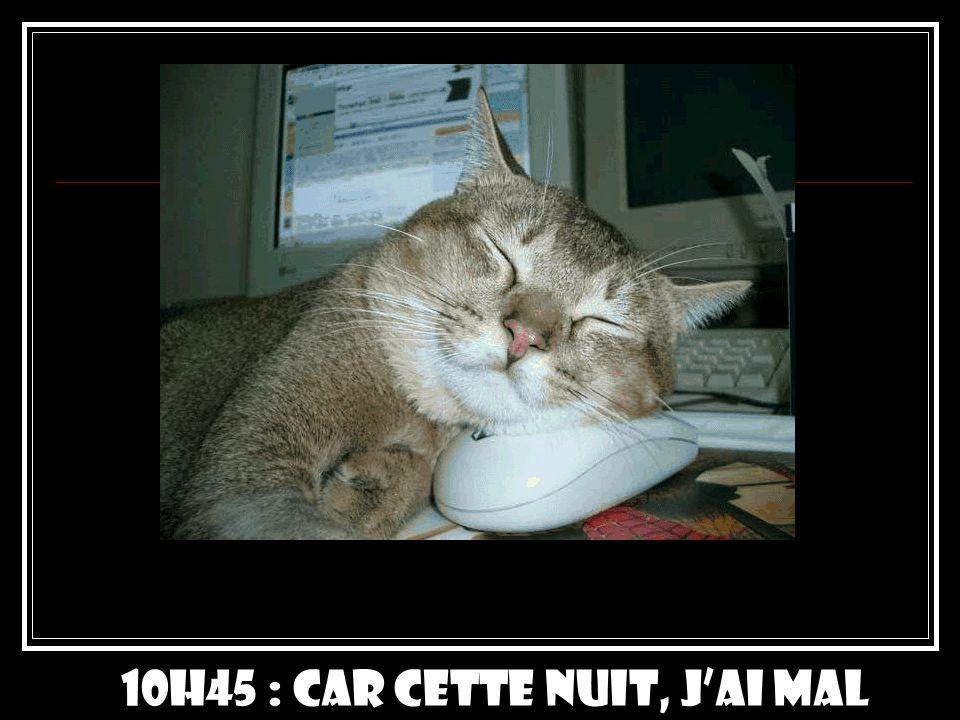 10h45 : Car cette nuit, j'ai mal dormi …