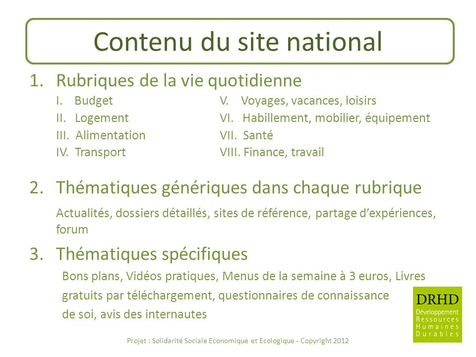 Contenu du site national
