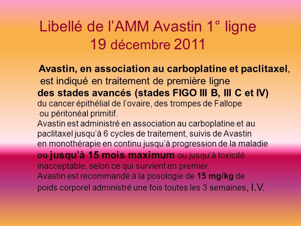 Libellé de l'AMM Avastin 1° ligne 19 décembre 2011