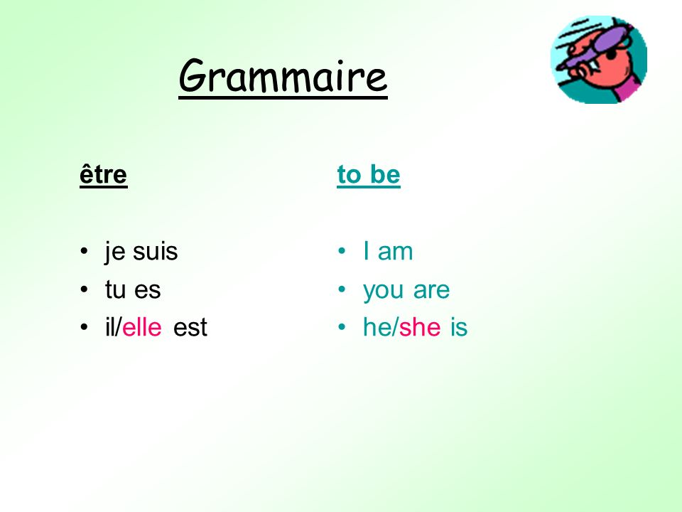 Grammaire être je suis tu es il/elle est to be I am you are he/she is