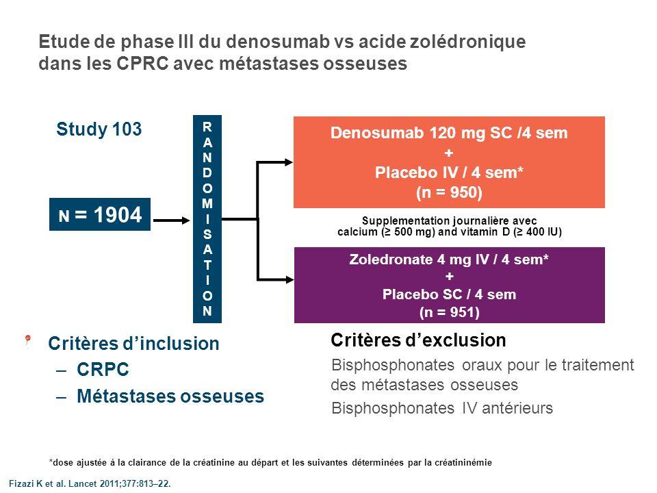 Etude de phase III du denosumab vs acide zolédronique dans les CPRC avec métastases osseuses