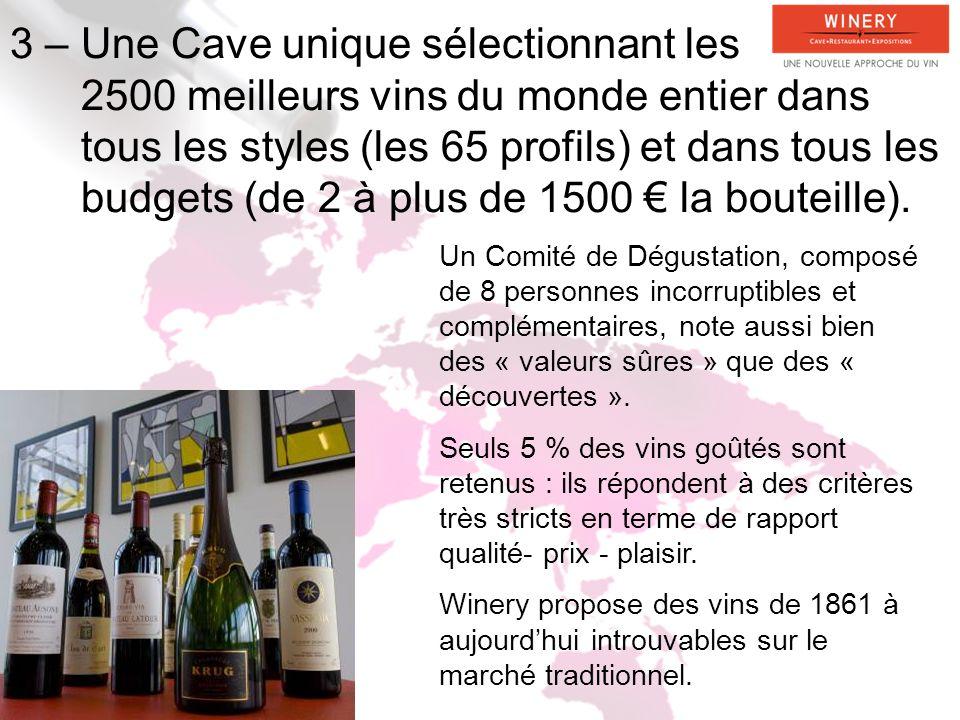 3 – Une Cave unique sélectionnant les 2500 meilleurs vins du monde entier dans tous les styles (les 65 profils) et dans tous les budgets (de 2 à plus de 1500 € la bouteille).