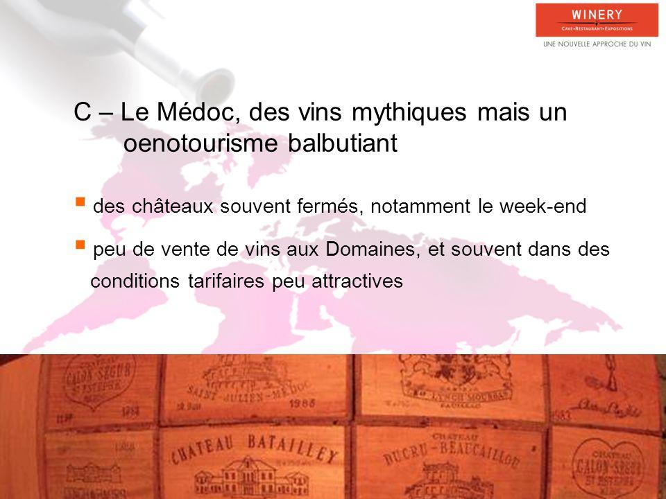 C – Le Médoc, des vins mythiques mais un oenotourisme balbutiant
