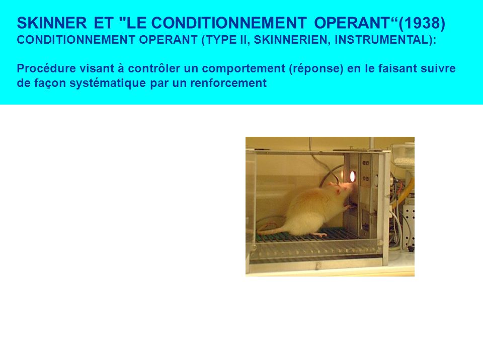 SKINNER ET LE CONDITIONNEMENT OPERANT (1938)