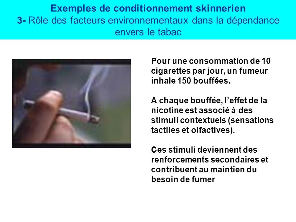 Exemples de conditionnement skinnerien 3- Rôle des facteurs environnementaux dans la dépendance envers le tabac