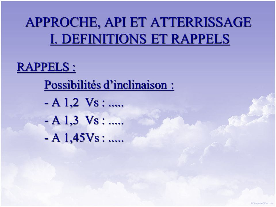 APPROCHE, API ET ATTERRISSAGE I. DEFINITIONS ET RAPPELS