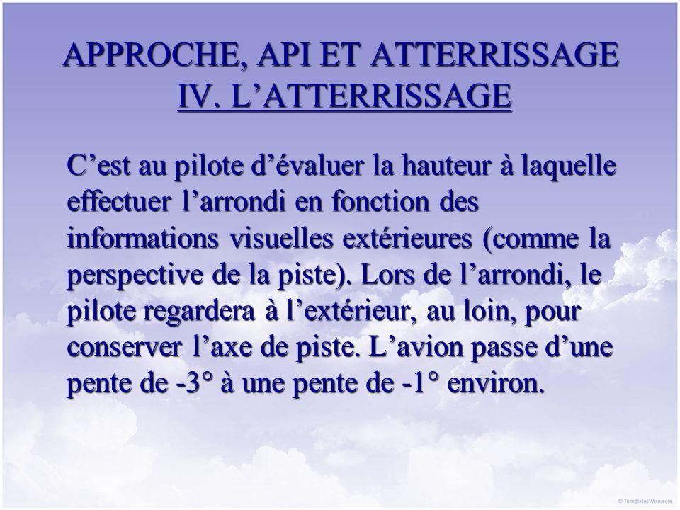 APPROCHE, API ET ATTERRISSAGE IV. L'ATTERRISSAGE