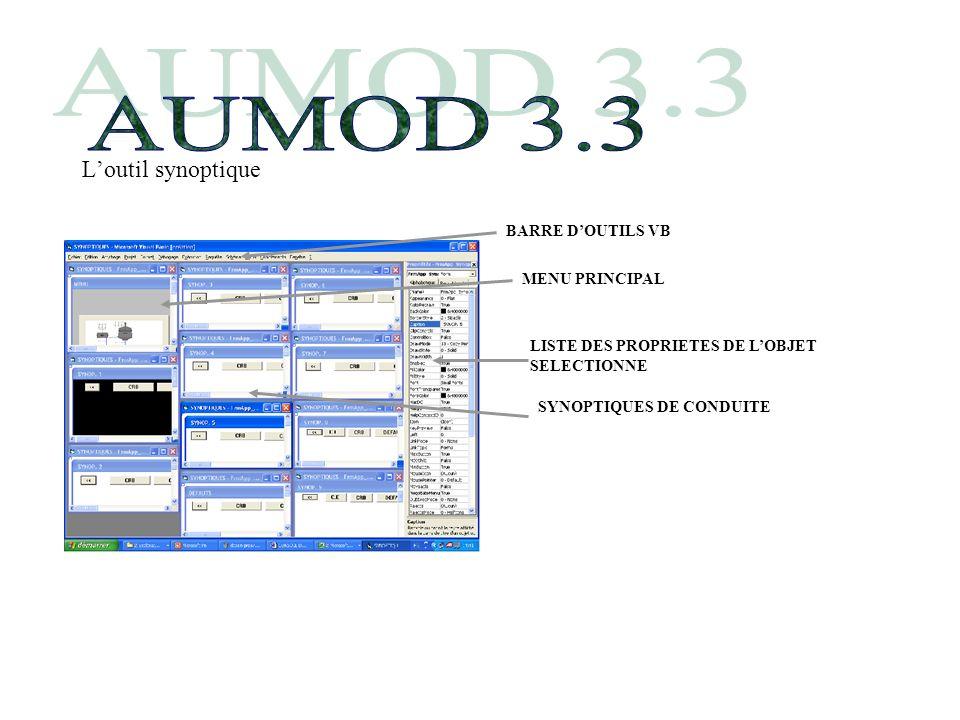 AUMOD 3.3 L'outil synoptique BARRE D'OUTILS VB MENU PRINCIPAL