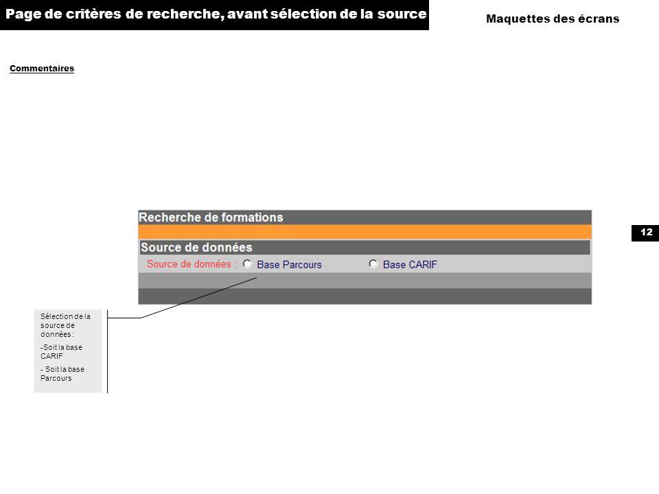 Page de critères de recherche, avant sélection de la source