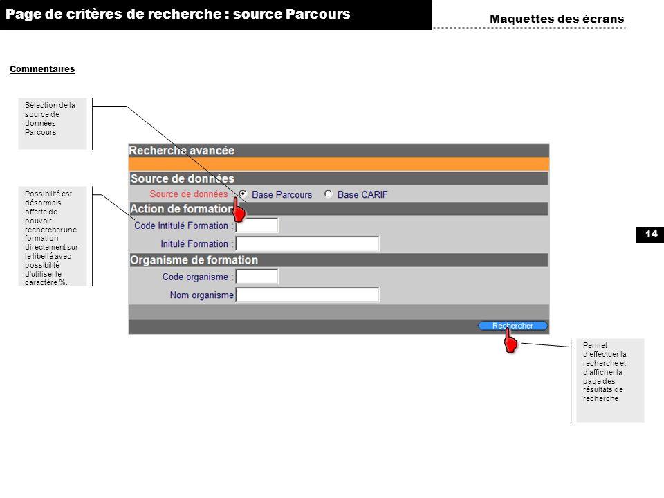     Page de critères de recherche : source Parcours