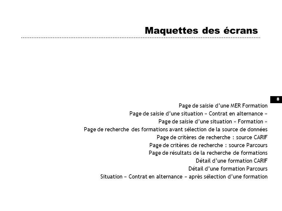 Maquettes des écrans Page de saisie d'une MER Formation