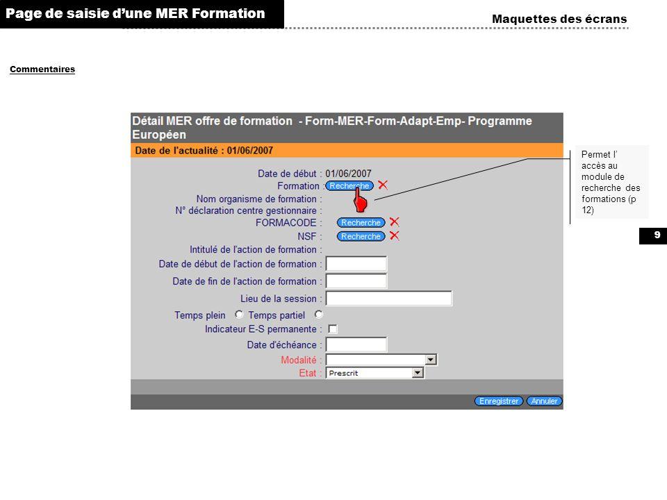   Page de saisie d'une MER Formation Maquettes des écrans