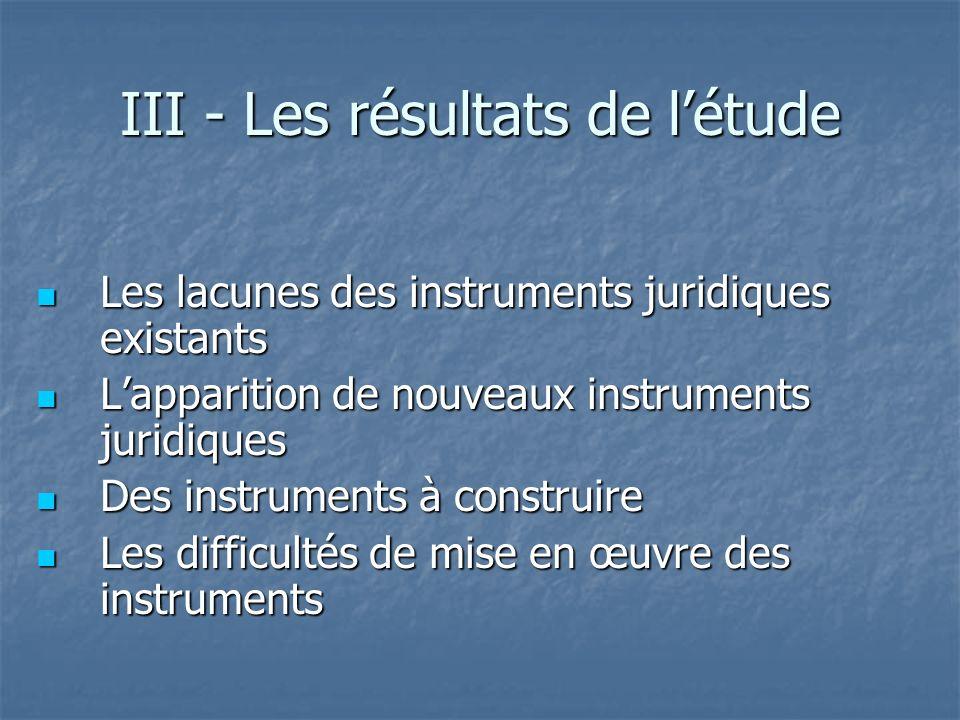 III - Les résultats de l'étude