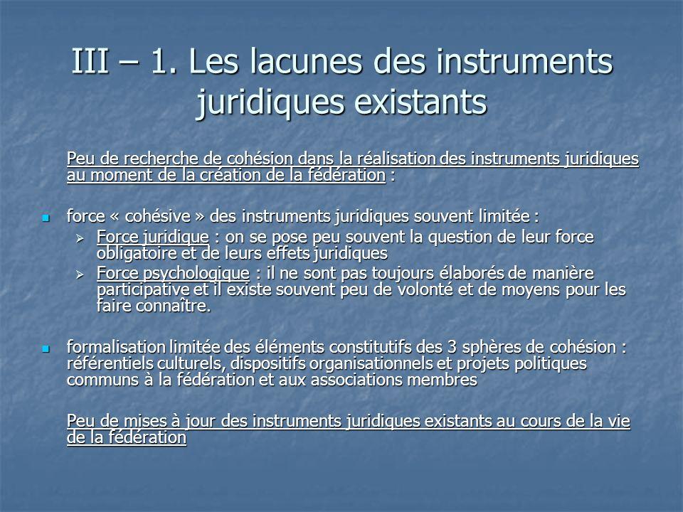 III – 1. Les lacunes des instruments juridiques existants