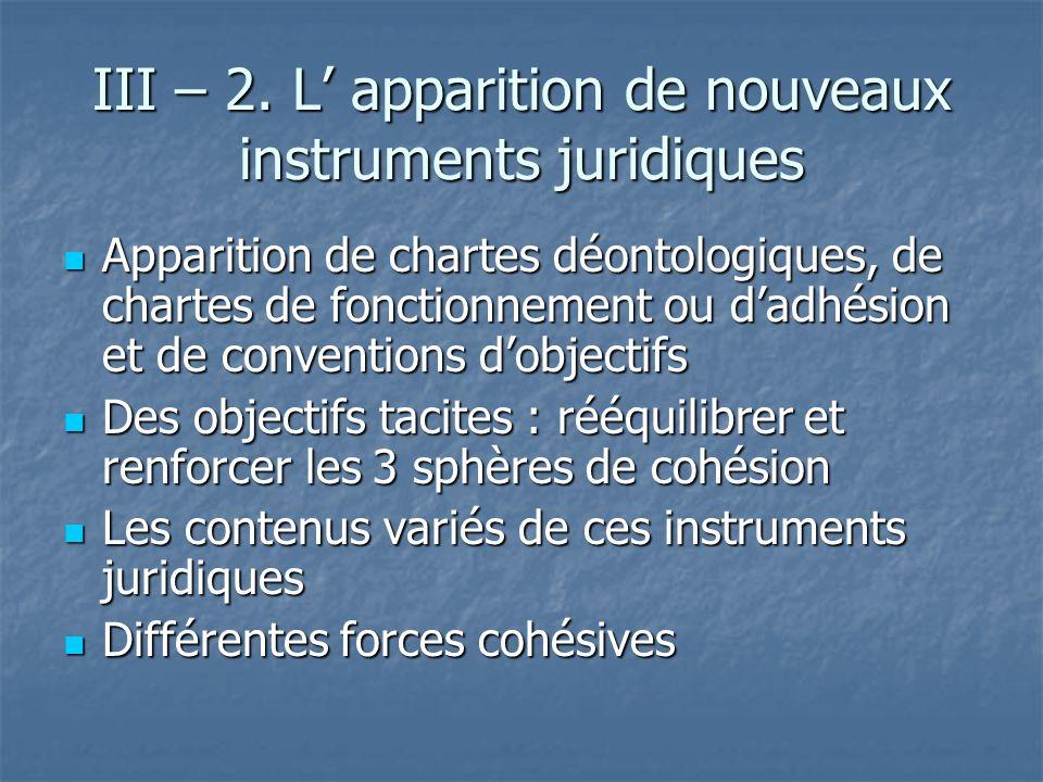 III – 2. L' apparition de nouveaux instruments juridiques