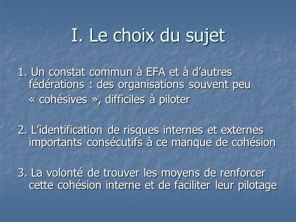 I. Le choix du sujet 1. Un constat commun à EFA et à d'autres fédérations : des organisations souvent peu.