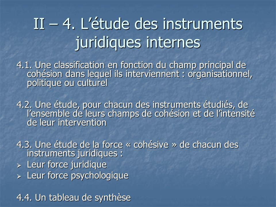 II – 4. L'étude des instruments juridiques internes