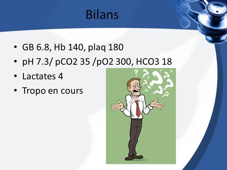 Bilans GB 6.8, Hb 140, plaq 180 pH 7.3/ pCO2 35 /pO2 300, HCO3 18