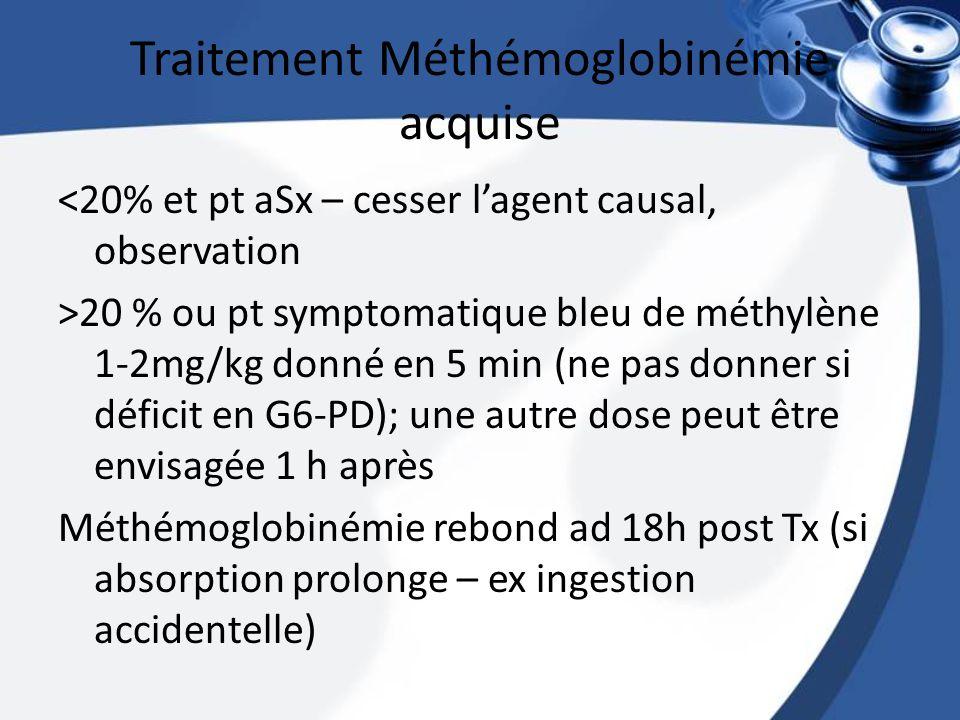 Traitement Méthémoglobinémie acquise