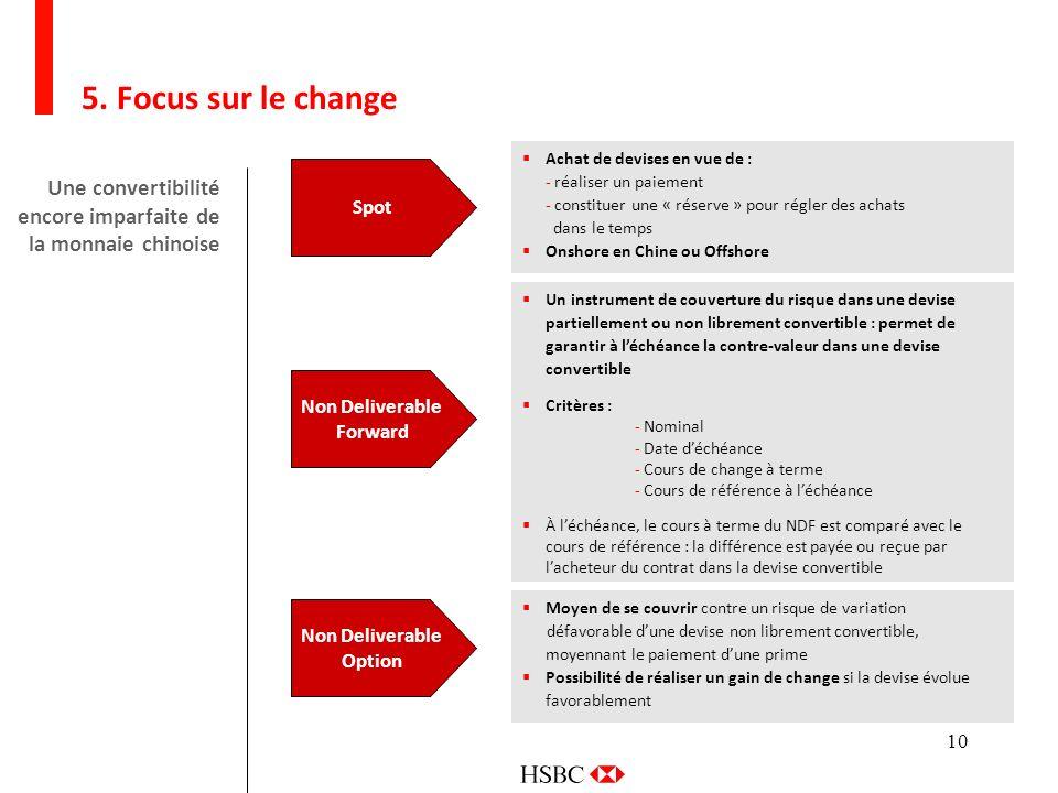 5. Focus sur le change Achat de devises en vue de : - réaliser un paiement. - constituer une « réserve » pour régler des achats.