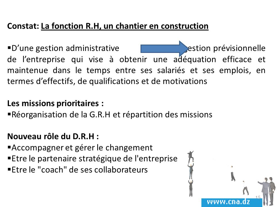 Constat: La fonction R.H, un chantier en construction