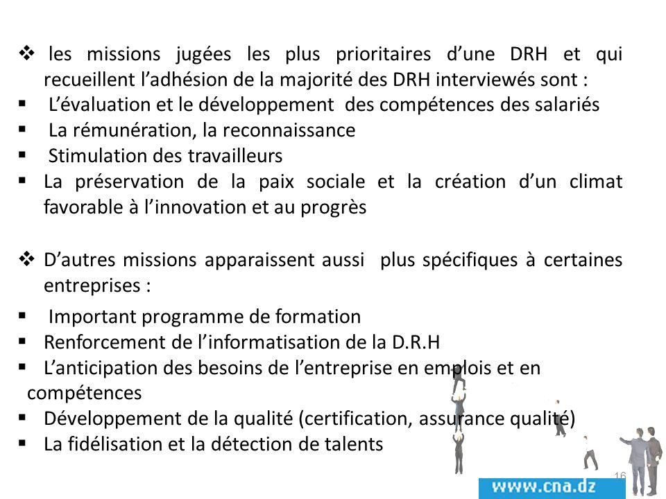 les missions jugées les plus prioritaires d'une DRH et qui recueillent l'adhésion de la majorité des DRH interviewés sont :