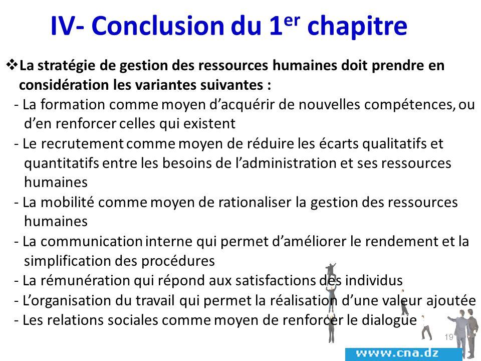 IV- Conclusion du 1er chapitre