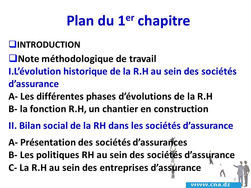 Plan du 1er chapitre Note méthodologique de travail